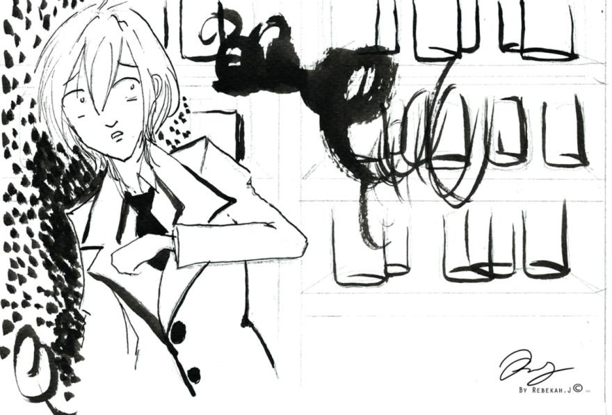 Ink drawing for comic Lance, 2015 by Rebekah Joseph