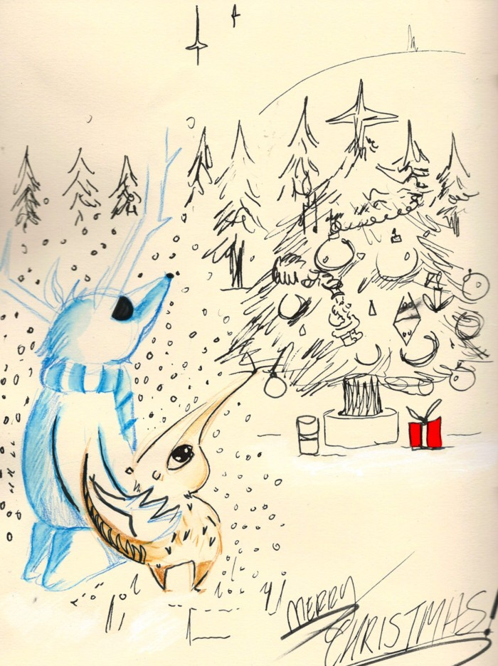 Merry Christmas! christmas drawing, drawn with ink and colour pencil. 2015