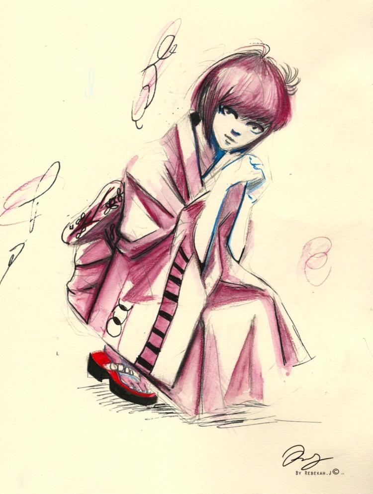 Young girl in Pink-kimono, 2015