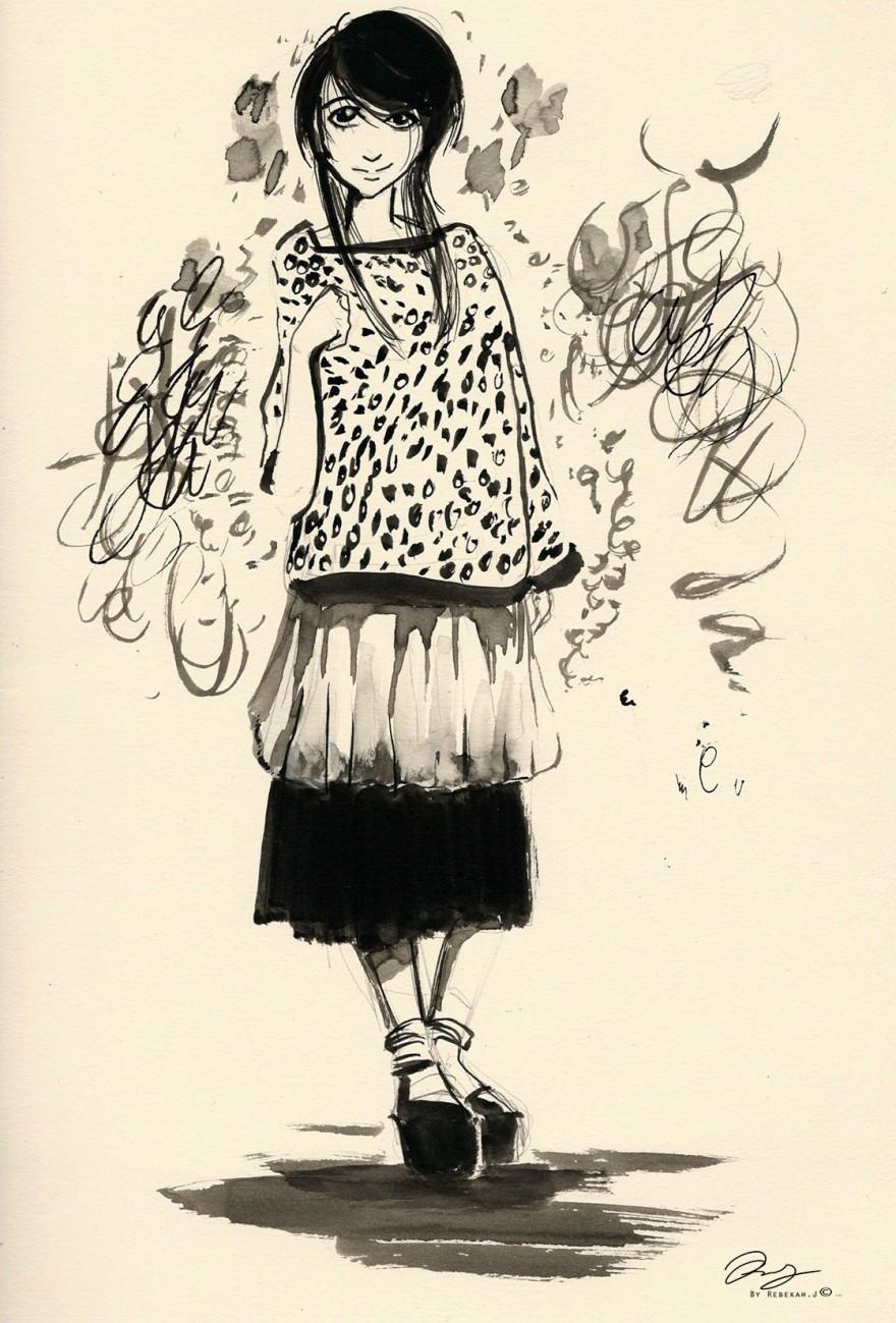 Brush Drawing of a girl, manga style