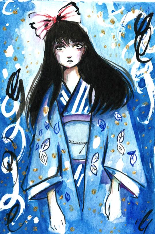 Blue Watercolour: Girl Wearing a Kimono by Rebekah Joseph, 2016