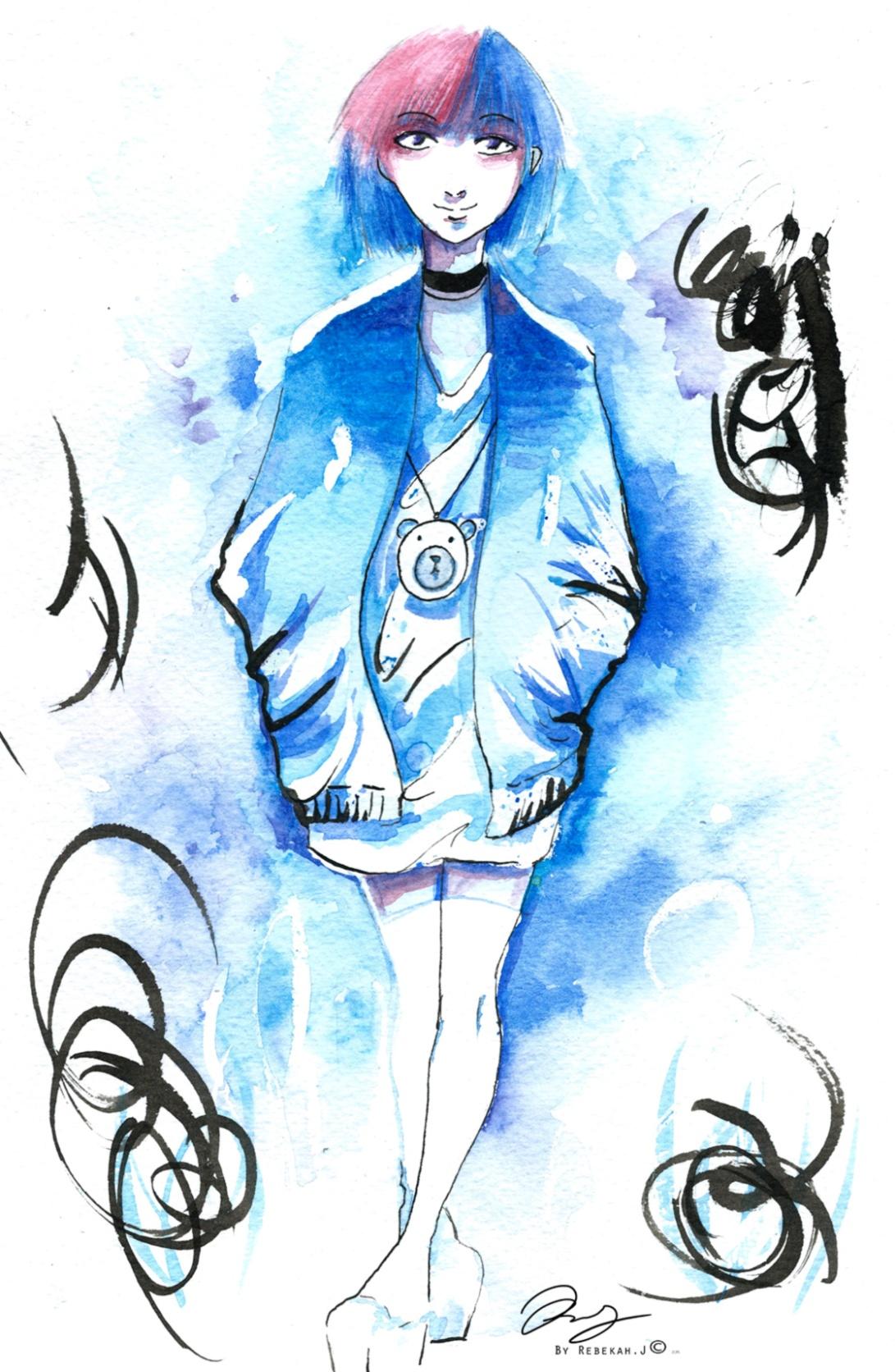Expressive blue watercolour portrait drawing, 2016 by Rebekah Joseph