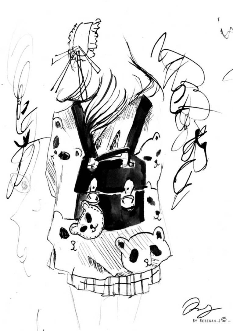 Backpack Panda Drawing, by Rebekah Joseph, 2016