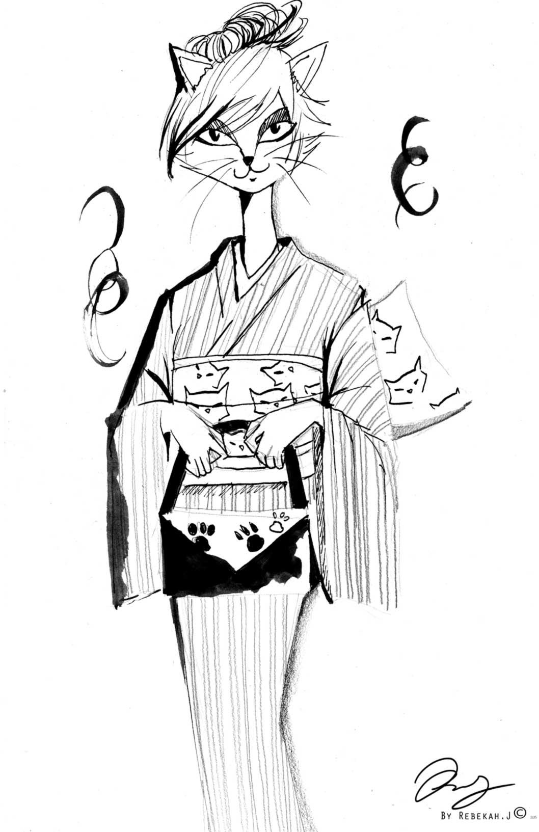 Cat Kimono Drawing by Rebekah Joseph, 2016 ink and pencil