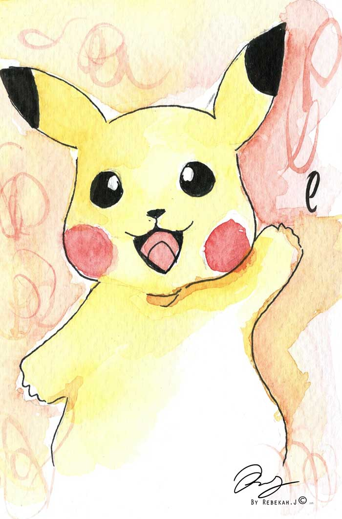 Pikachu watercolour by Rebekah Joseph, 2016