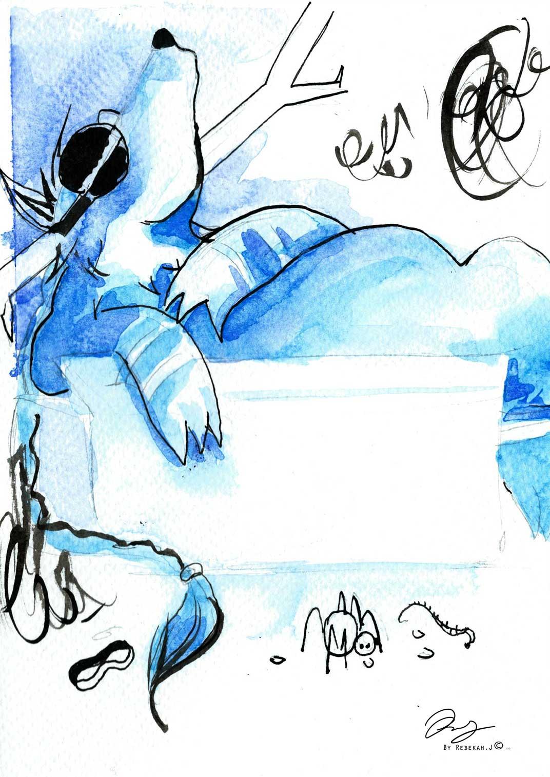 Rain Taking a nap. Rebekah Joseph 2016 Watercolour