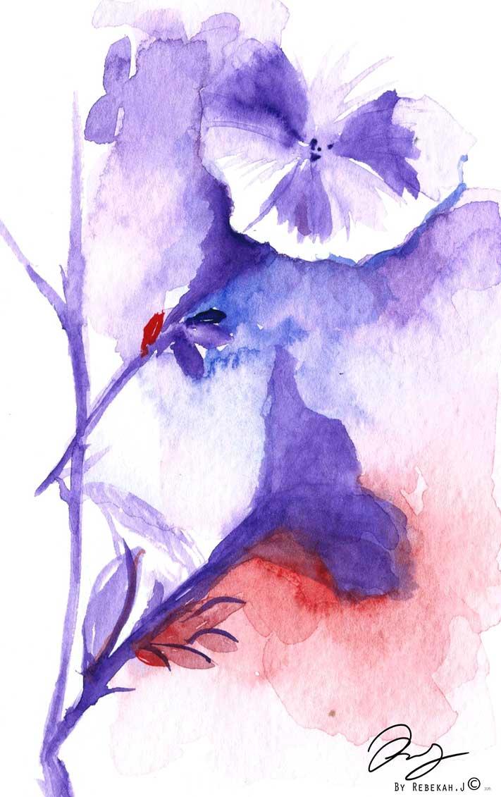 watercolour flower 1, by Rebekah Joseph, 2016