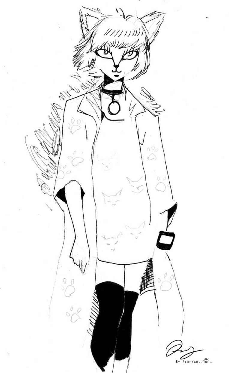Cat Girl - Drawing by Rebekah Joseph, 2016