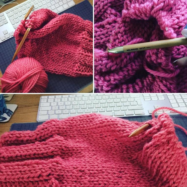 Knitting a scarf, 2016