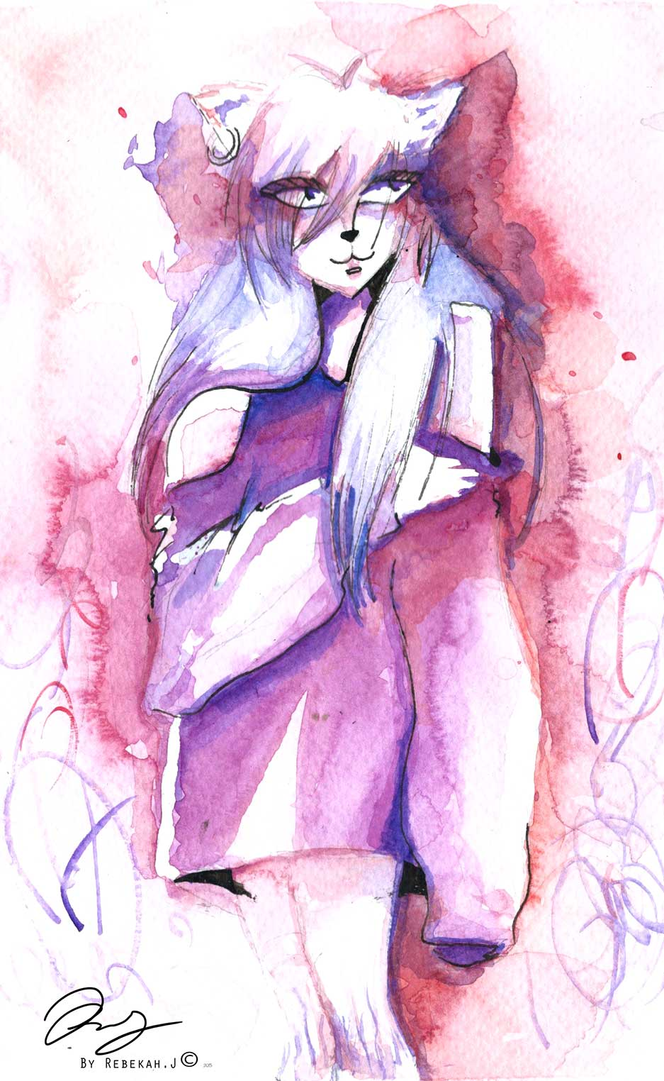Cat Girl Watercolour  by Rebekah Joseph, 2016
