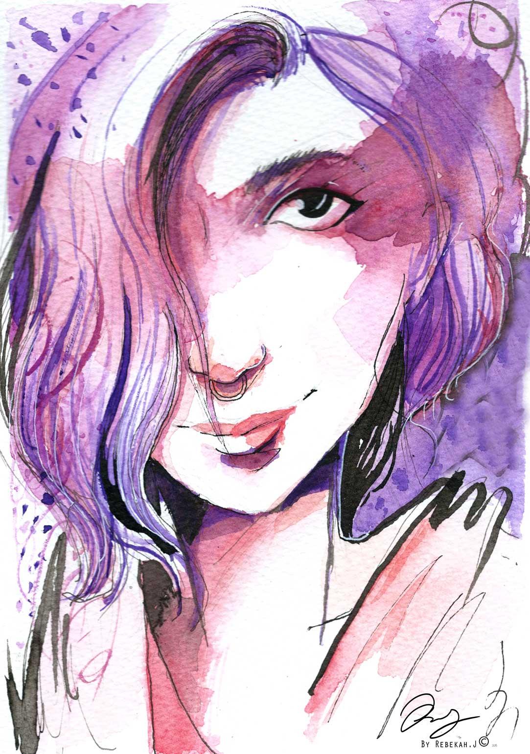 Watercolour Portrait- Breatriz Futigami by Rebekah Joseph