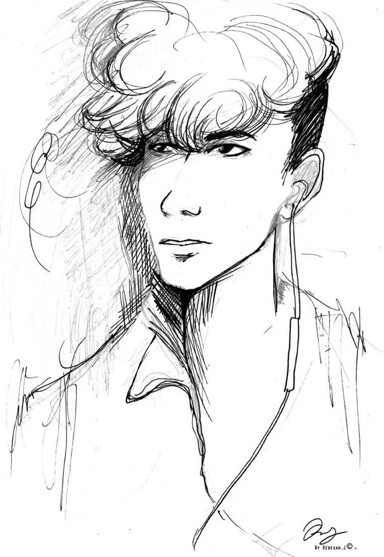 Portrait Drawing - Luis Rivera by Rebekah Joseph