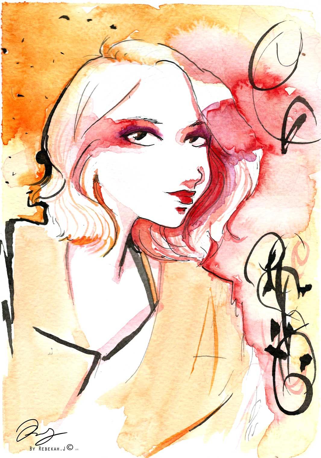 Watercolour Portrait - Riley Erin by Rebekah Joseph