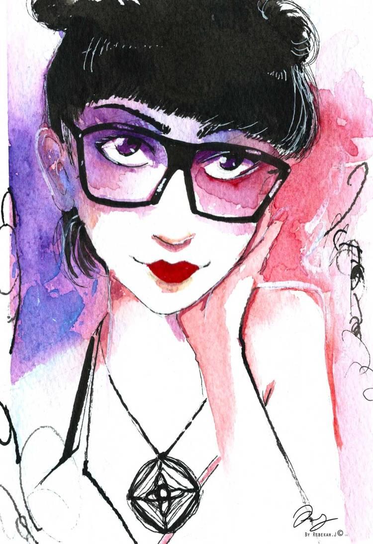 Watercolour Portrait - Alexia Santini Zaragoza, 2016 vy Rebekah Joseph