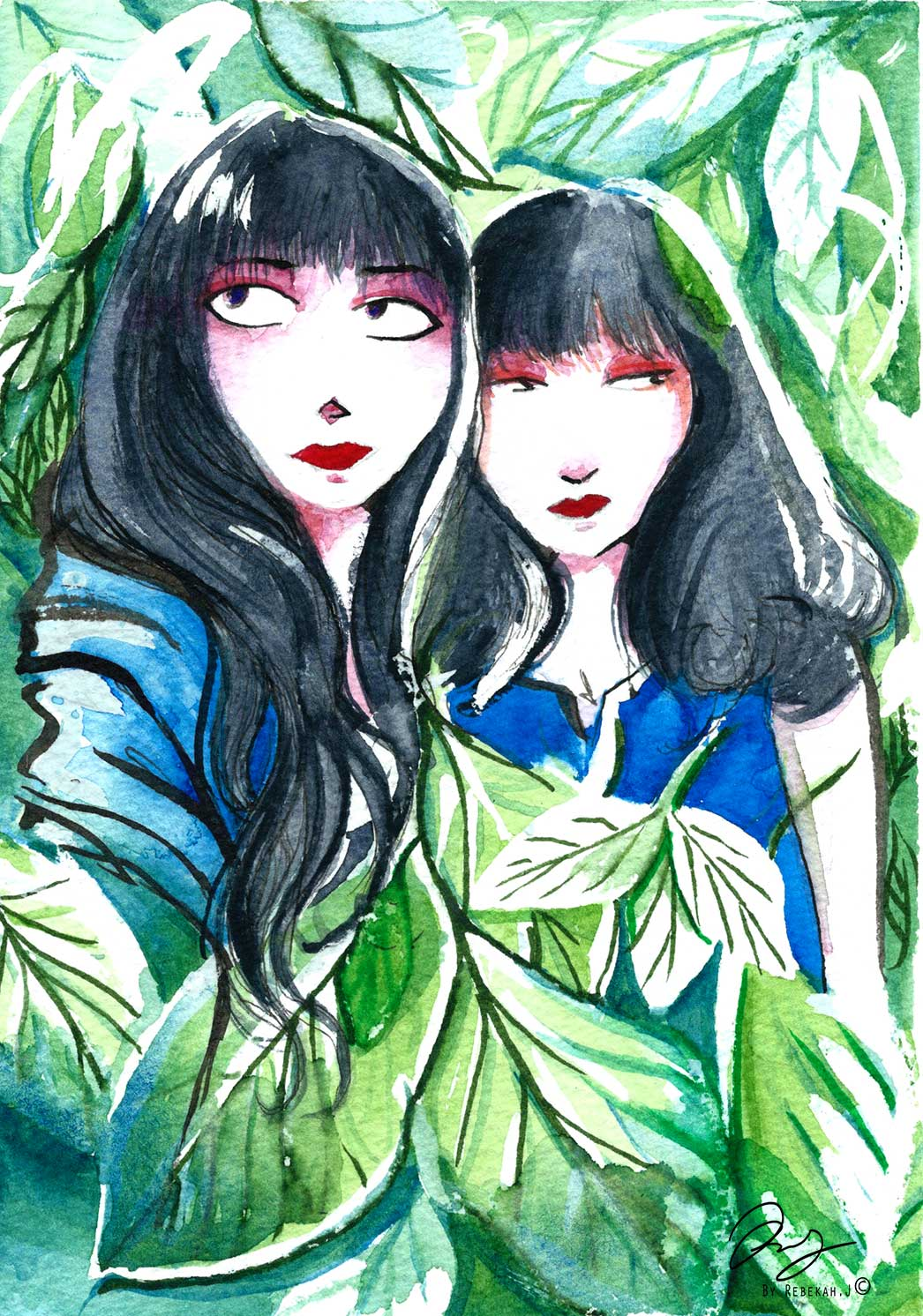 Watercolour portrait sister love, by Rebekah Joseph 2016