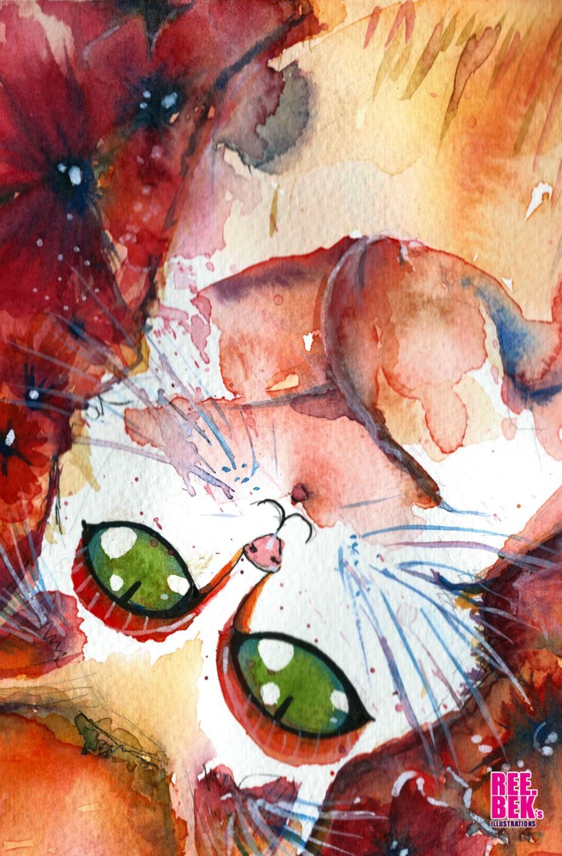 Cure Cat Watercolour, by Rebekah Joseph 2016