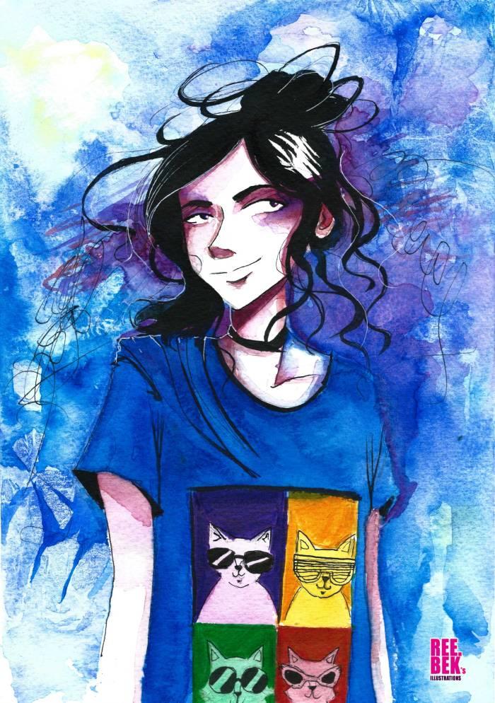 Girl wearing Pop Cat T-Shirt, watercolour by Rebekah Joseph