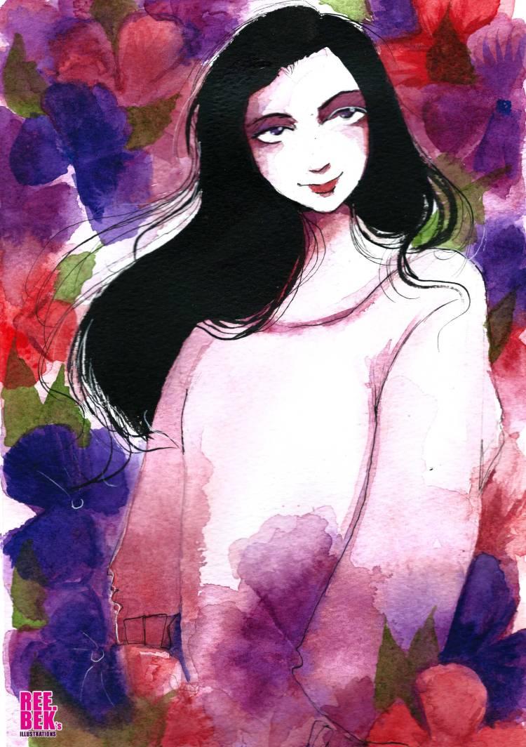 watercolour-portrait-oink-flower