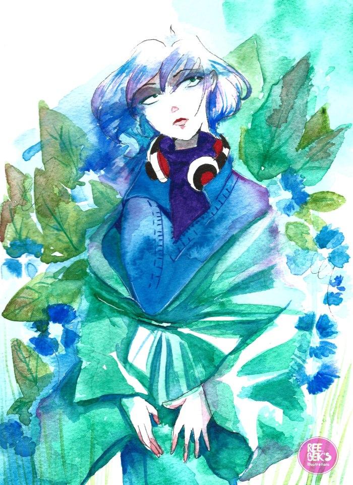 Young Lady Wearing Green Kimono