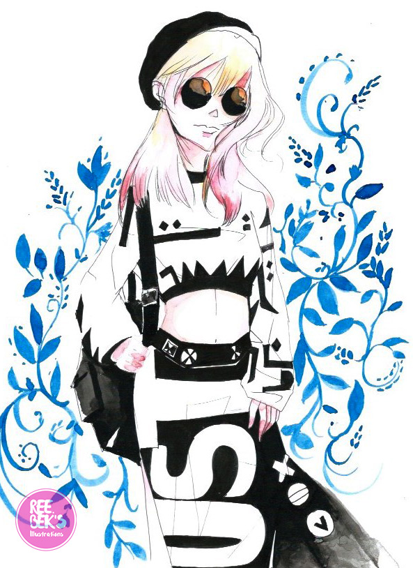 coloured-watercolour-Harjuku-girl-2017