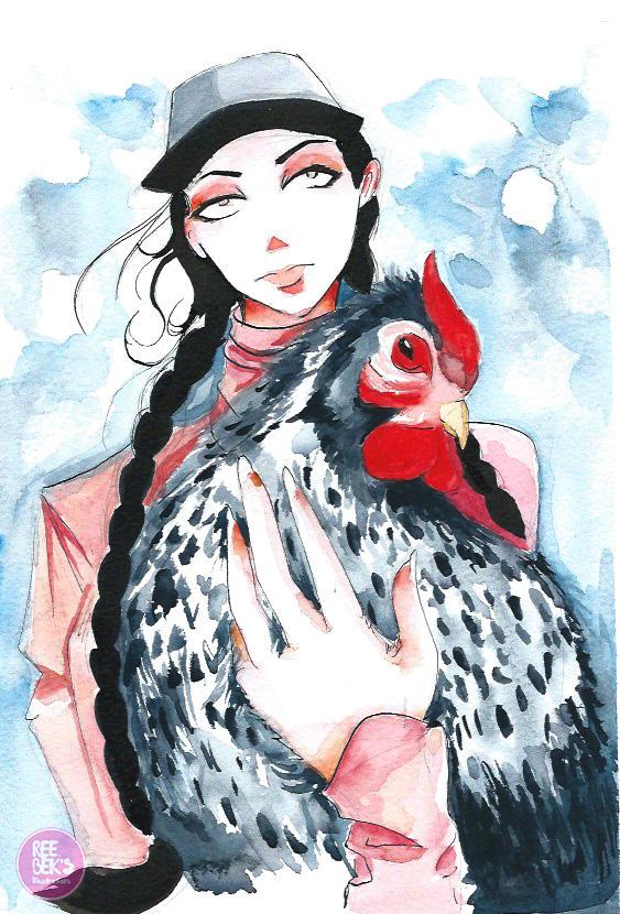 Girl Holding a Hen watercolour