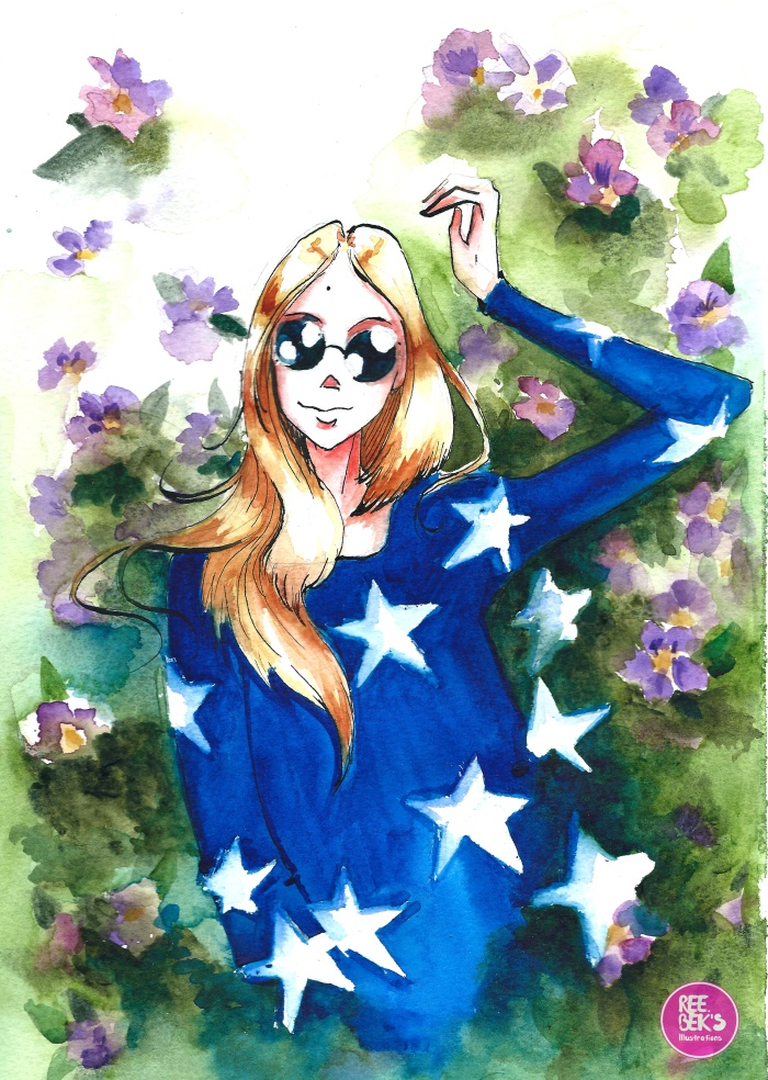 Watercolour painting flowers and stars